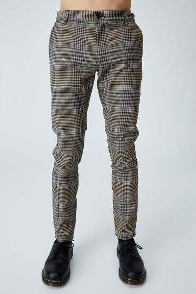 Skinny Stretch Chino, BEIGE OVERSIZED CHECK