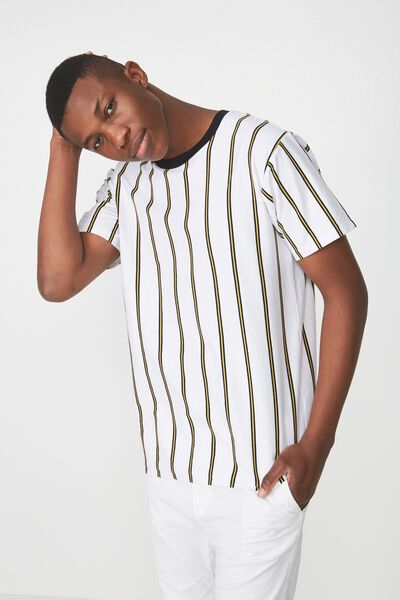 Dylan Tee, WHITE/BLACK/BAMBOO YELLOW VERTICAL STRIPE/BLACK CO
