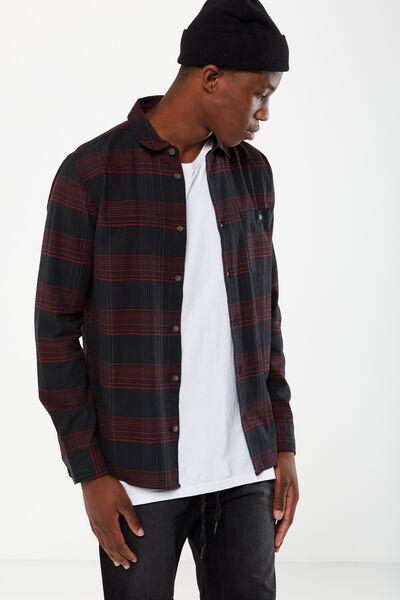Rugged Long Sleeve Shirt, BLACK/RED WINDOW CHECK