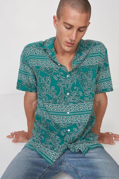 91 Short Sleeve Shirt, GREEN PAISLY STRIPE