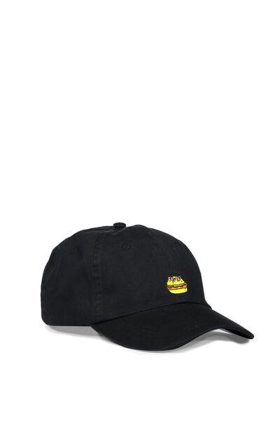 Strap Back Dad Hat, SUNNY BURGER/WASHED BLACK