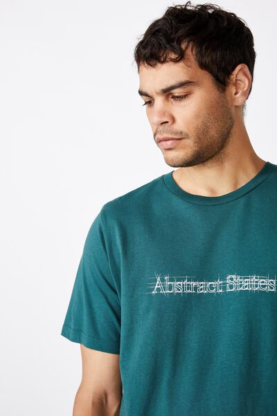 Tbar Text T-Shirt, DEEP SEA TEAL/ABSTRACT STATES SKETCH