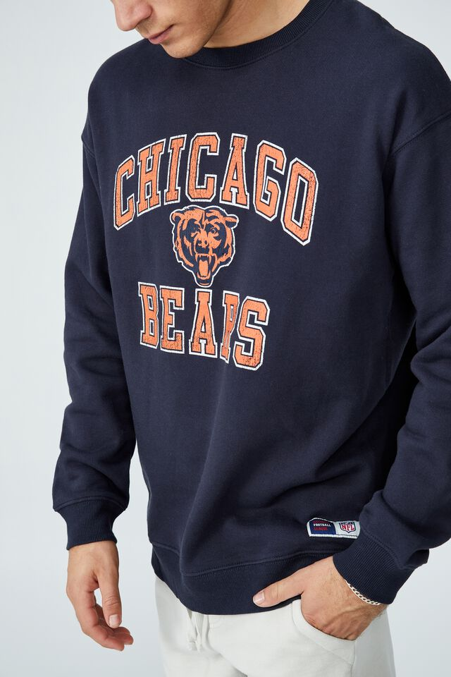 Active Collab Oversized Crew Fleece, LCN NFL TRUE NAVY / CHICAGO BEARS