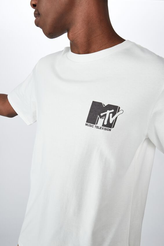 Tbar Collab Pop Culture T-Shirt, LCN MTV SK8 VINTAGE WHITE/MTV - ZEBRA LOGO