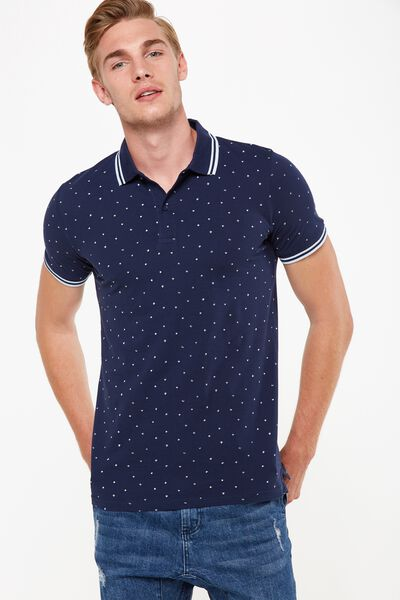 Icon Polo, NAVY SCRIBBLE DITSY SLIM