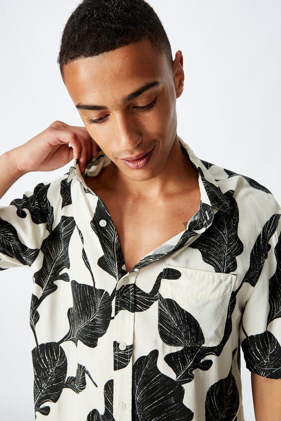 Short Sleeve Resort Shirt, VINTAGE WHITE OVERSIZED