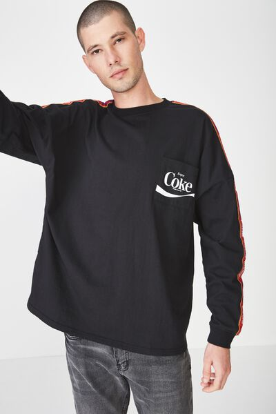 Drop Shoulder Long Sleeve, LC BLACK/COKE CHEST PRINT