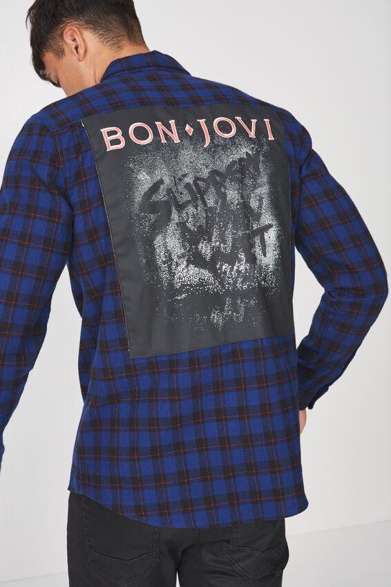 Rugged Long Sleeve Collaboration Shirt, BLUE CHECK/BON JOVI