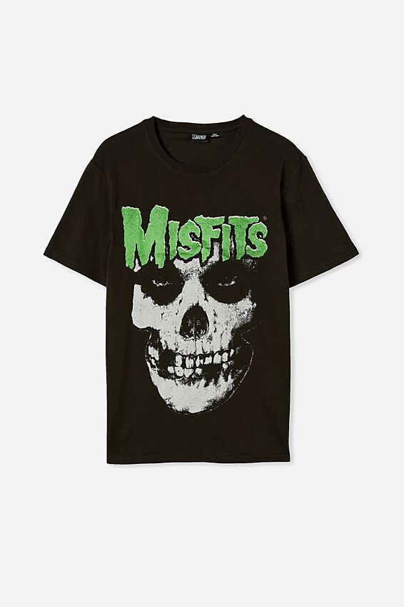 Tbar Collab Music T-Shirt, LCN MIS WASHED BLACK/MISFITS-FIEND