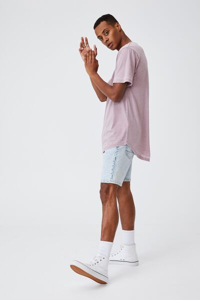 Longline Scoop Burnout T-Shirt, MAUVE