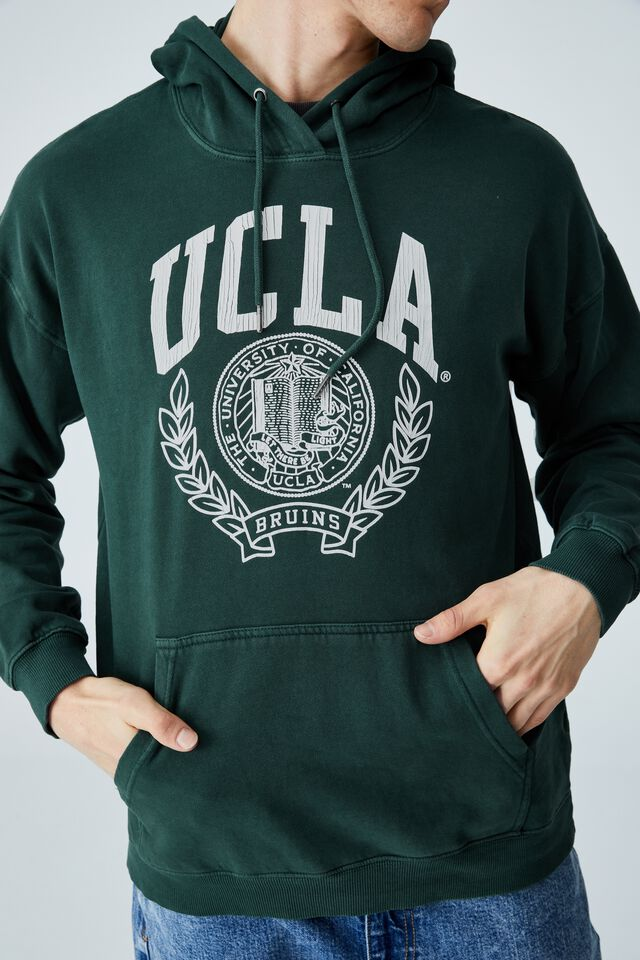 Premium Collab Fleece Pullover, LCN UCLA PINENEEDLE GREEN/UCLA CREST