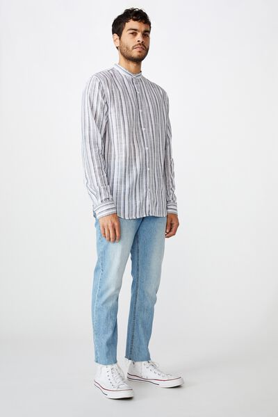 Banded Collar Shirt, WHITE INDIGO STRIPE
