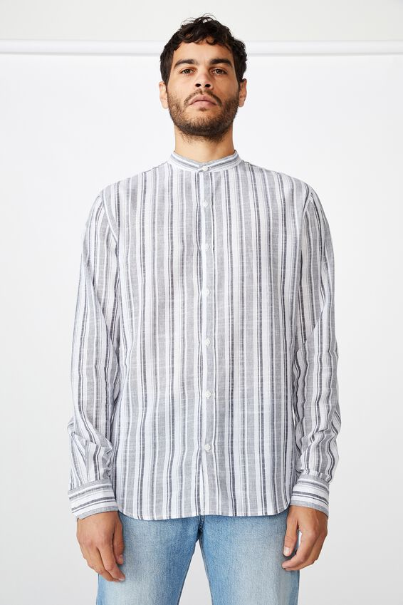 Banded Collar Shirt, WHITE INDIGO STRIPE