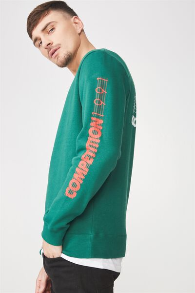 Crew Fleece 2, POSY GREEN/HOOPS COMPETITION 1991