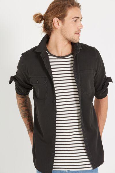 Worker Long Sleeve Shirt, BLACK