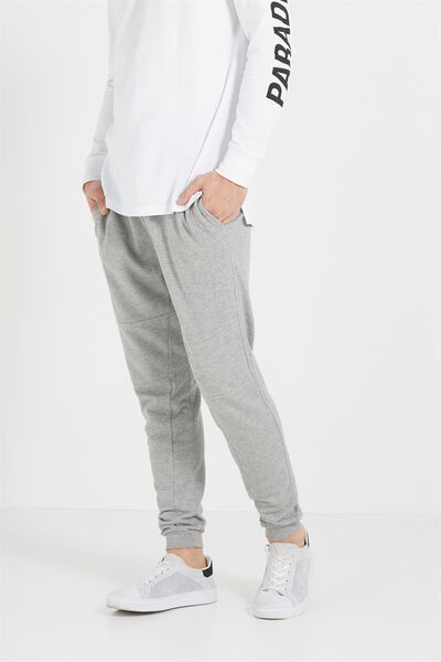 Customised Slouch Trackie, LIGHT GREY MARLE #25