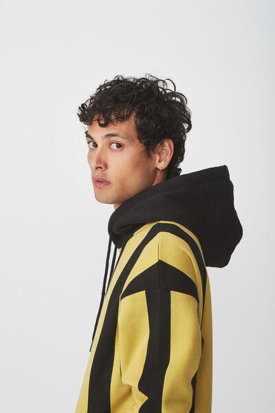 Drop Shoulder Pullover Fleece, BAMBOO YELLOW/BLACK VERTICAL STRIPE