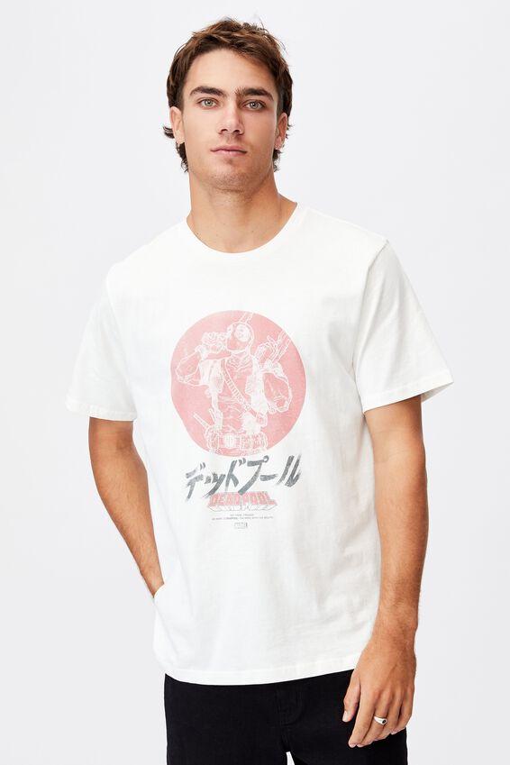 Tbar Collab Movie And Tv T-Shirt, LCN MAR VINTAGE WHITE/DEADPOOL-VINTAGE CIRCLE