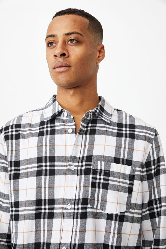 Washed Long Sleeve Light Check Shirt, WHITE CHECK