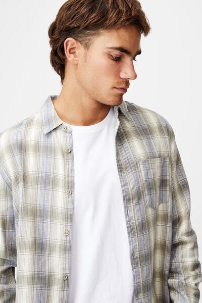 Washed Long Sleeve Check Shirt, ECRU DESERT CHECK