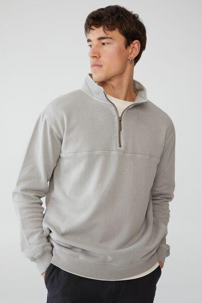 Quarter Zip Fleece, OVERCAST GREY