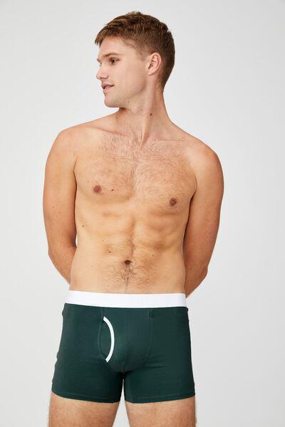Mens Organic Cotton Trunks, HUNTER GREEN/WHITE