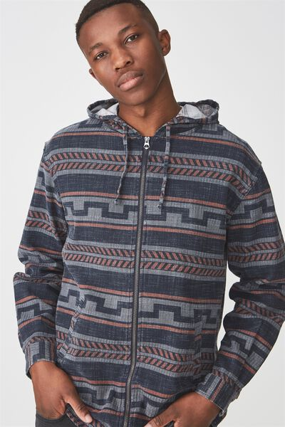 Zip Hood Shirt, NAVY NOMAD STRIPE