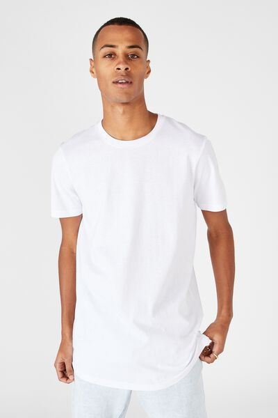 Essential Longline Scoop Tee, WHITE