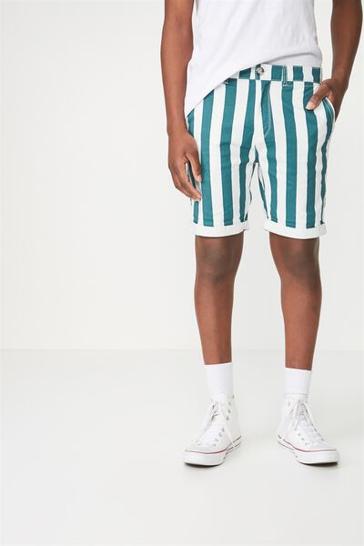 Washed Chino Short, WASHED GREEN/WHITE VERT STRIPE