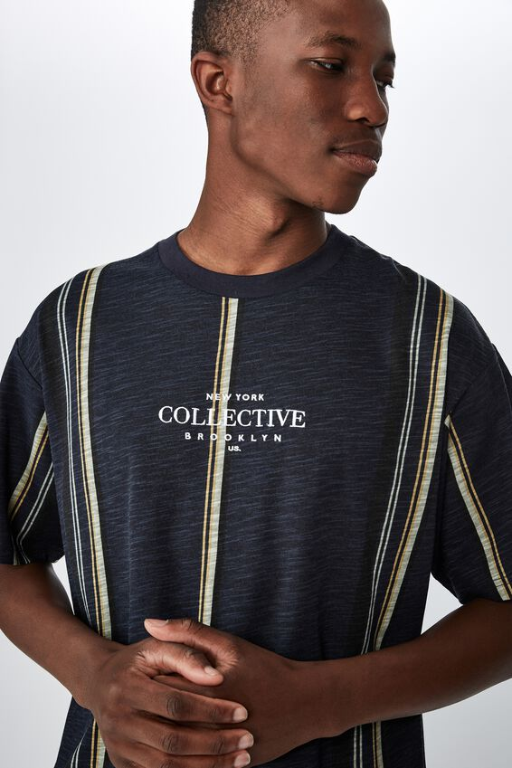 Downtown Loose Fit Tee, NAVY WIDE STRIPE