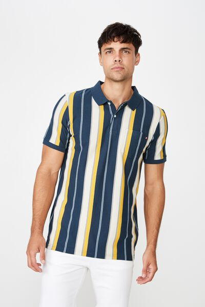 Icon Polo, BLUE MUSTARD SKY STRIPE