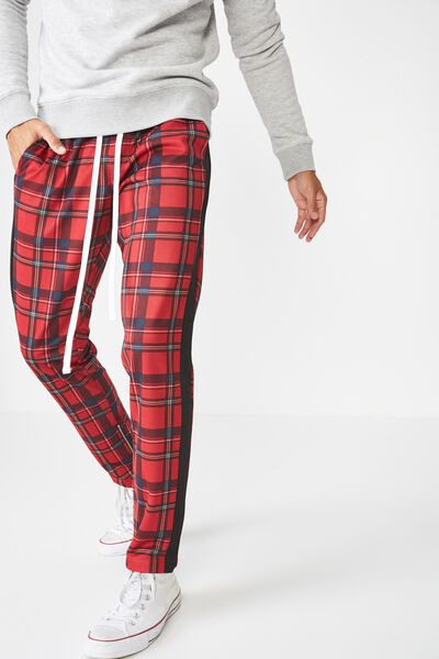 Urban Side Stripe Track Pant, RED TARTAN CHECK