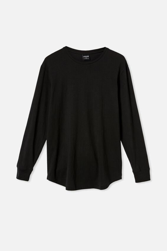 Longline Scoop Long Sleeve T-Shirt, BLACK
