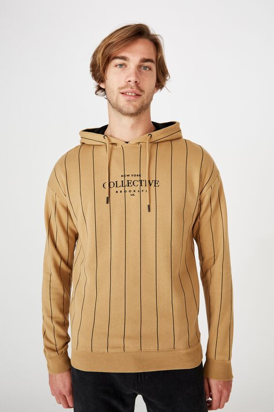 Drop Shoulder Pullover Fleece, CAMEL/BLACK/NY COLLECTIVE