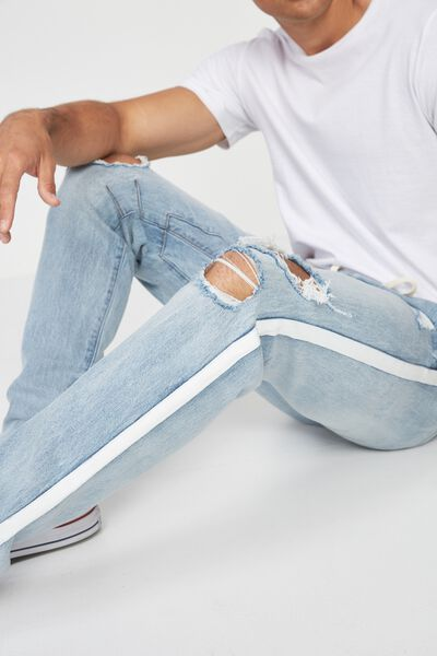 Slim Urban Zip Jean, WASH BLUE + RIPS + SIDE STRIPE