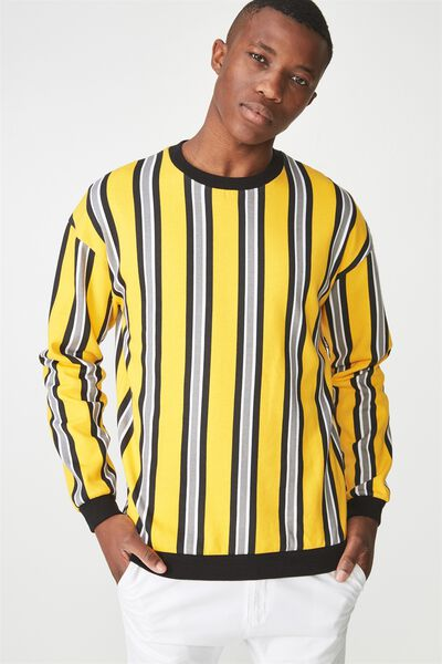 Drop Shoulder Crew Fleece, SAFETY YELLOW/MID GREY/WHITE/BLACK VERTICAL STRIPE