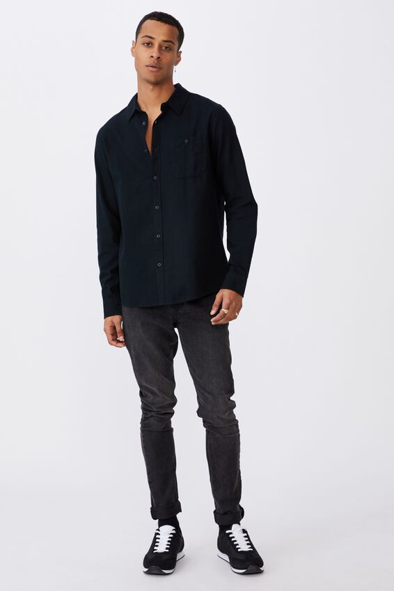 Washed Long Sleeve Check Shirt, WASHED BLACK