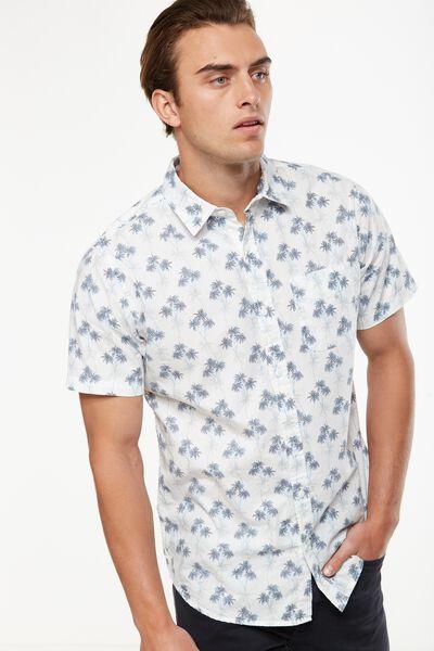 Vintage Prep Short Sleeve Shirt, MULTI POP PALM PRINT