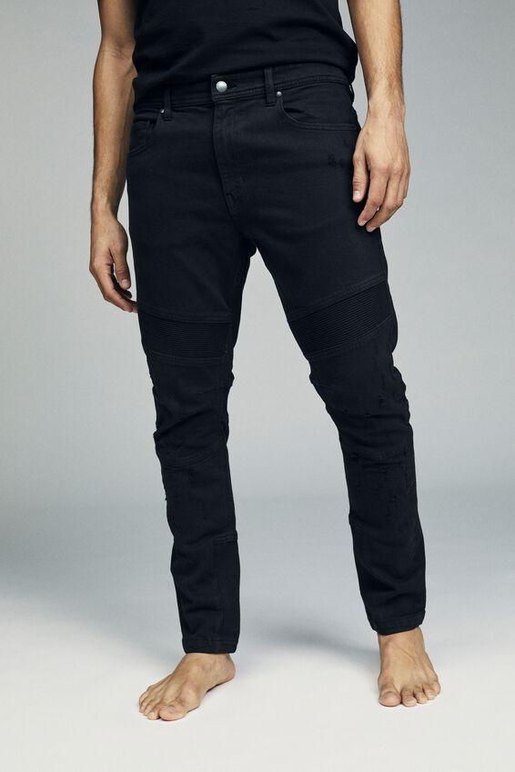 Skinny Tapered Jean, RIBBED BLACK