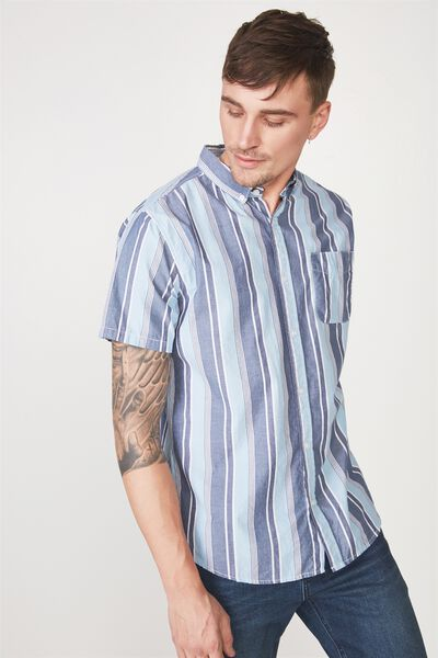 Vintage Prep Short Sleeve Shirt, DENIM MULTI STRIPE
