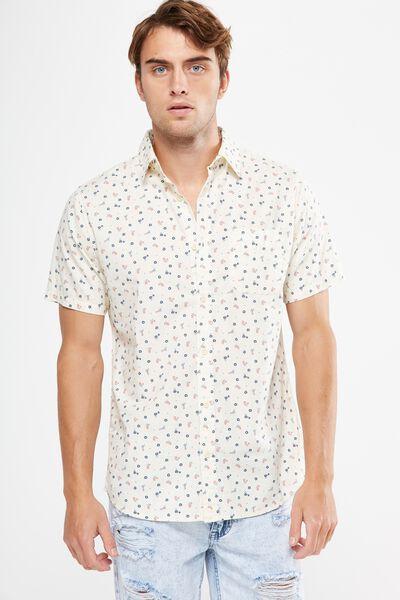 Vintage Prep Short Sleeve Shirt, NATURAL DITSY PRINT