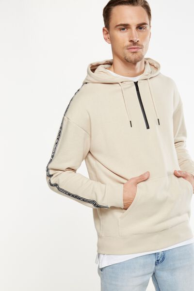 Drop Shoulder Pullover Fleece, IVORY/NU NOUVEAU TAPE