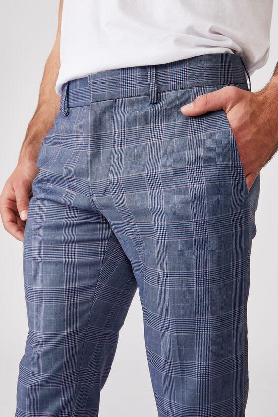 Fashion Slim Stretch Suit Pant, BLUE CHECK