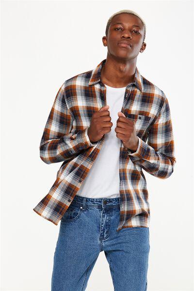 Rugged Long Sleeve Shirt, NAVY ORANGE CHECK