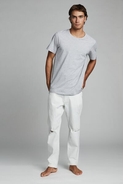Tapered Leg Jean, WHITE RIPS