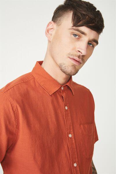 Vintage Prep Short Sleeve Shirt, BURNT ORANGE