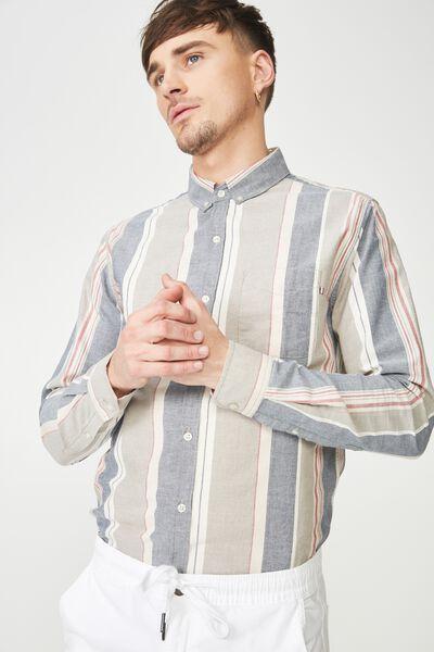 Brunswick Shirt 3, TAN NAVY RED STRIPE