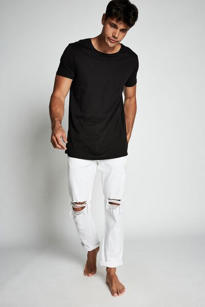 Tapered Leg Jean, WHITE + BLOWOUT