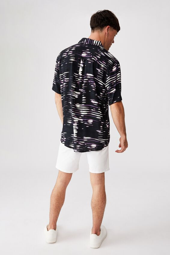 91 Short Sleeve Shirt, BLACK MULTI GLITCH
