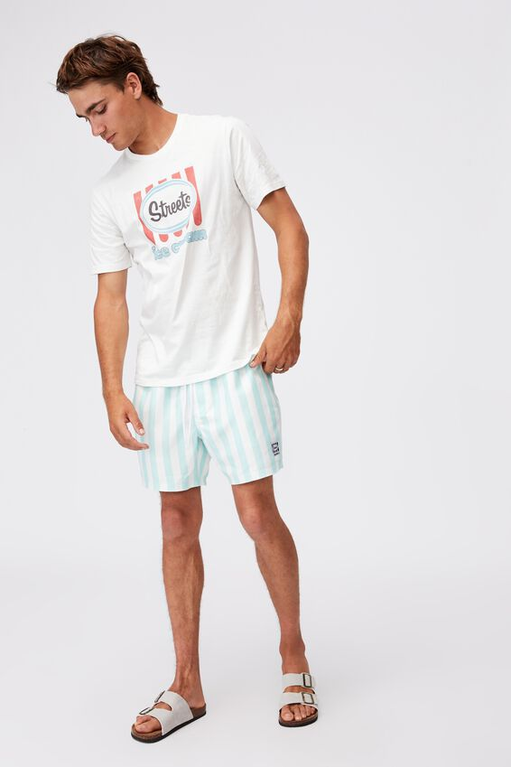 Swim Short, LCN STREETS TEAL WHITE STRIPE